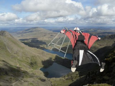 102 year old Cardiff woman descends Snowdon in a wingsuit