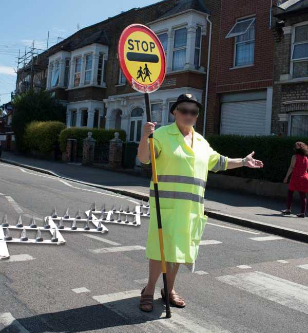 Lollipop lady uses Police 'stinger' to stop reckless drivers