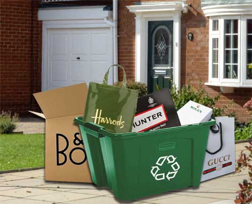New! Luxury brand packaging for waste bin 'virtue signallers'