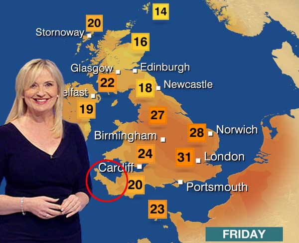 BBC modifies weather map to stop presenters obscuring Cornwall