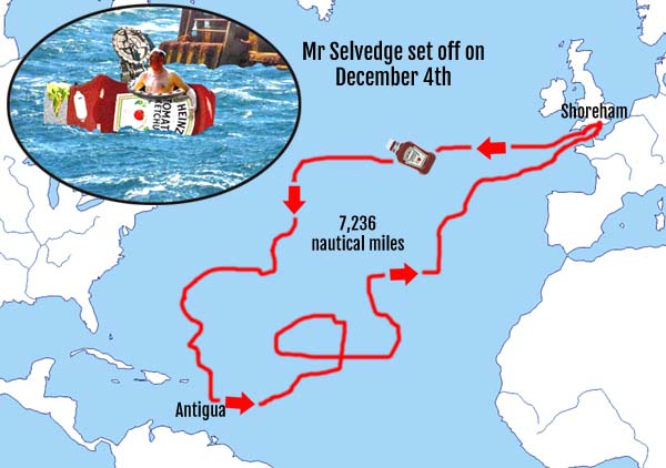 Sussex man robbed of Atlantic crossing record as ketchup bottle drifts back to the start