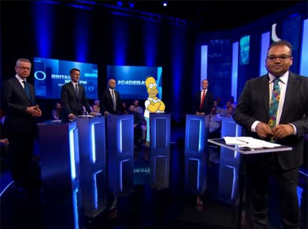 Absent Boris furious after TV debate uses the wrong Homer cut-out