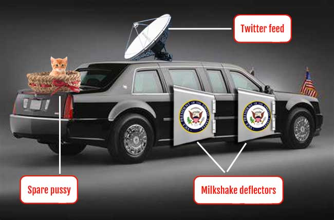 Trump's armoured car specially re-equipped for London