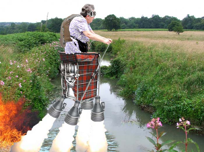 Woman (87) makes first crossing of River Uck on jet shopping trolley