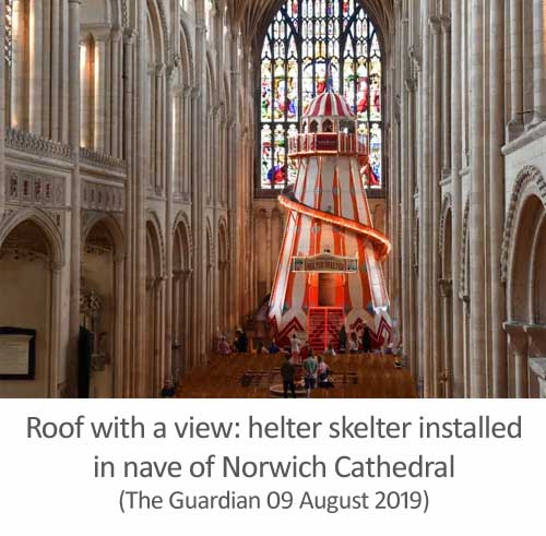 Norwich Cathedral admits helter-skelter ride was 'inspired by reading Spoofflé'