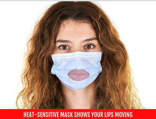 Heat-sensitive mask shows your lips moving